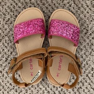 Like new Carters glitter sandals worn once! Size 9